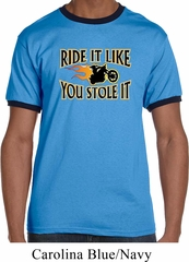 Mens Biker Shirt Ride It Like You Stole It Ringer Tee T-Shirt