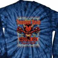 Mens Biker Shirt Thunder Road Long Sleeve Tie Dye Tee T-shirt