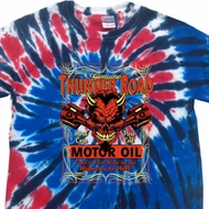 Mens Biker Shirt Thunder Road Patriotic Tie Dye Tee T-shirt