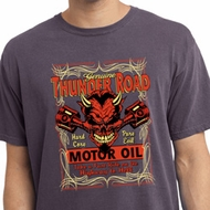 Mens Biker Shirt Thunder Road Pigment Dyed Tee T-Shirt
