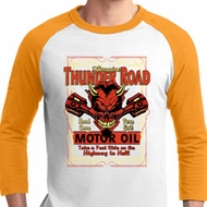 Mens Biker Shirt Thunder Road Raglan Tee T-Shirt