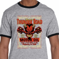 Mens Biker Shirt Thunder Road Ringer Tee T-Shirt