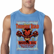 Mens Biker Shirt Thunder Road Sleeveless Tee T-Shirt