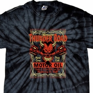 Mens Biker Shirt Thunder Road Spider Tie Dye Tee T-shirt