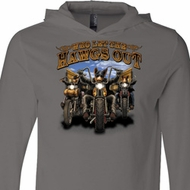 Mens Biker Shirt Who Let The Hawgs Out Lightweight Hoodie Tee