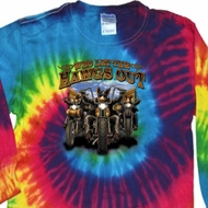 Mens Biker Shirt Who Let The Hawgs Out Long Sleeve Tie Dye Tee T-shirt