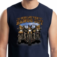 Mens Biker Shirt Who Let The Hawgs Out Muscle Tee T-Shirt