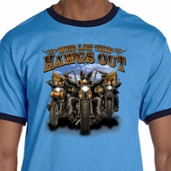 Mens Biker Shirt Who Let The Hawgs Out Ringer Tee T-Shirt