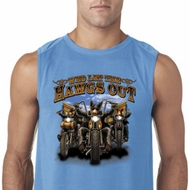 Mens Biker Shirt Who Let The Hawgs Out Sleeveless Tee T-Shirt