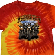 Mens Biker Shirt Who Let The Hawgs Out Tie Dye Tee T-shirt
