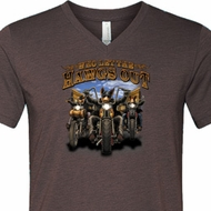 Mens Biker Shirt Who Let The Hawgs Out Tri Blend V-neck Tee