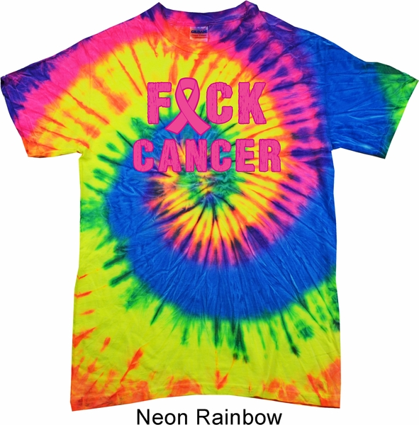 Mens Breast Cancer Awareness Shirt F Ck Cancer Tie Dye Tee