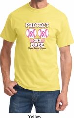 Mens Breast Cancer Awareness Shirt Protect 2nd Base Tee T-Shirt