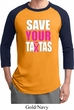 Mens Breast Cancer Awareness Shirt Save Your Tatas Raglan Tee T-Shirt