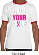 Mens Breast Cancer Awareness Shirt Save Your Tatas Ringer Tee T-Shirt