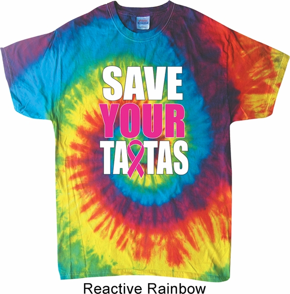Mens Breast Cancer Awareness Shirt Save Your Tatas Tie Dye
