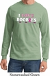 Mens Breast Cancer Shirt I Love Boobies Long Sleeve Tee T-Shirt