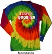 Mens Breast Cancer Shirt I Love Boobies Long Sleeve Tie Dye Tee