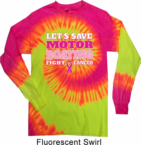 Mens Breast Cancer Shirt Motor Boating Long Sleeve Tie Dye