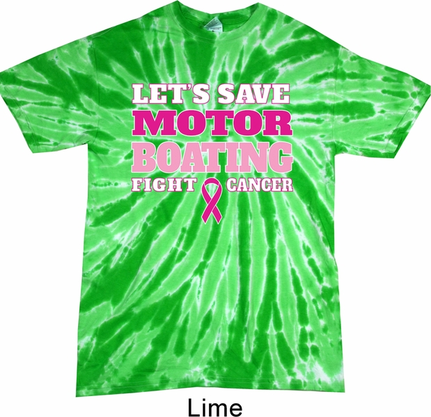 Mens Breast Cancer Shirt Motor Boating Twist Tie Dye Tee T