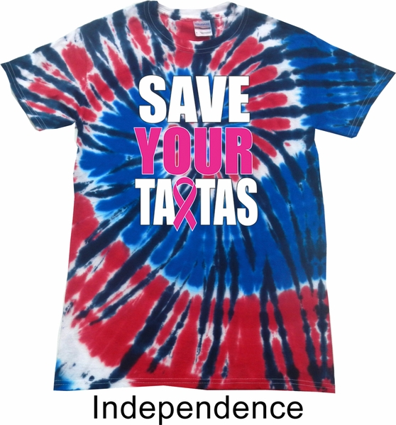 Mens Breast Cancer Shirt Save Your Tatas Patriotic Tie Dye