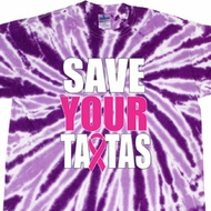 Mens Breast Cancer Shirt Save Your Tatas Twist Tie Dye Tee T-shirt