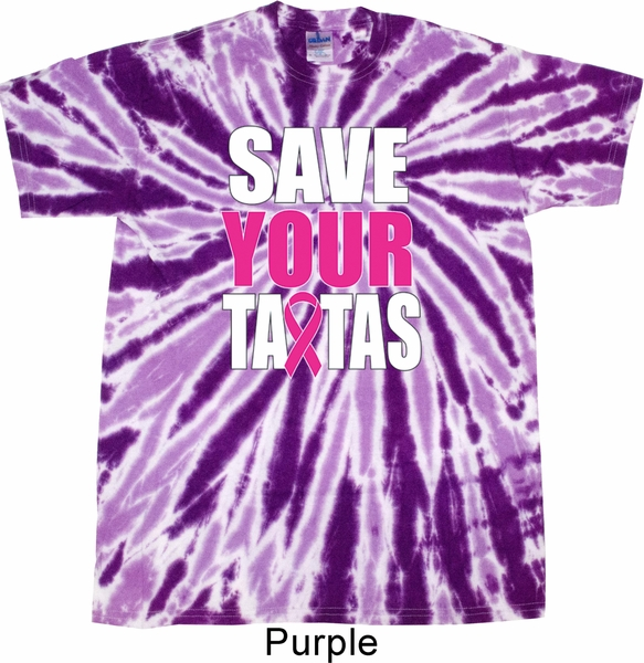 Mens Breast Cancer Shirt Save Your Tatas Twist Tie Dye Tee