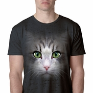 Mens Cat Shirt Big Cat Face Black Burnout T-Shirt