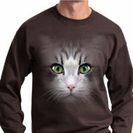 Mens Cat Sweatshirt Big Cat Face Sweat Shirt