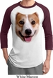 Mens Corgi Shirt Big Corgi Face Raglan Tee T-Shirt