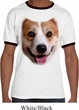 Mens Corgi Shirt Big Corgi Face Ringer Tee T-Shirt