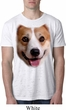 Mens Corgi Shirt Big Corgi Face White Burnout T-Shirt