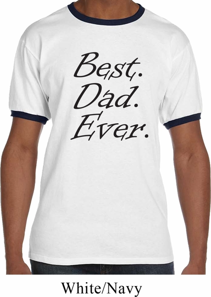 Mens dad shirt best dad ever black print ringer tee t for Best place to buy mens t shirts