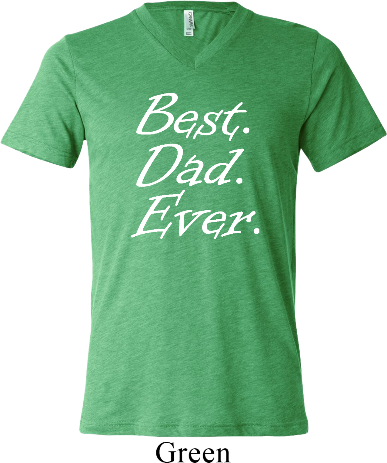 Mens Dad Shirt Best Dad Ever White Print Tri Blend V Neck