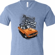 Mens Dodge 1970 Plymouth Hemi Cuda Tri Blend V-neck Shirt