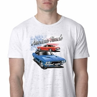Mens Dodge American Muscle Blue and Red Burnout Shirt