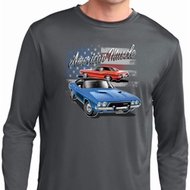 Mens Dodge American Muscle Blue and Red Dry Wicking Long Sleeve Shirt