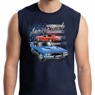 Mens Dodge American Muscle Blue and Red Muscle Shirt