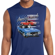 Mens Dodge American Muscle Blue and Red Sleeveless Dry Wicking Shirt