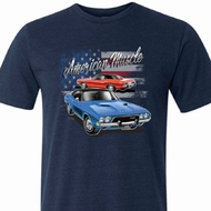 Mens Dodge American Muscle Blue and Red Tri Blend Crewneck Shirt