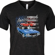 Mens Dodge American Muscle Blue and Red Tri Blend V-neck Shirt