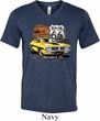 Mens Dodge Route 66 Charger RT Tri Blend V-neck Shirt