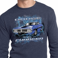 Mens Dodge Shirt Blue Dodge Charger Long Sleeve Thermal Tee T-Shirt