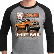Mens Dodge Shirt Ram Hemi Trucks Raglan Tee T-Shirt