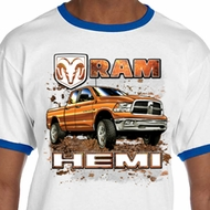 Mens Dodge Shirt Ram Hemi Trucks Ringer Tee T-Shirt