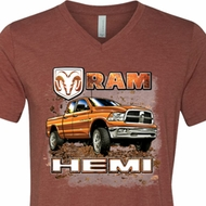Mens Dodge Shirt Ram Hemi Trucks Tri Blend V-neck Tee T-Shirt