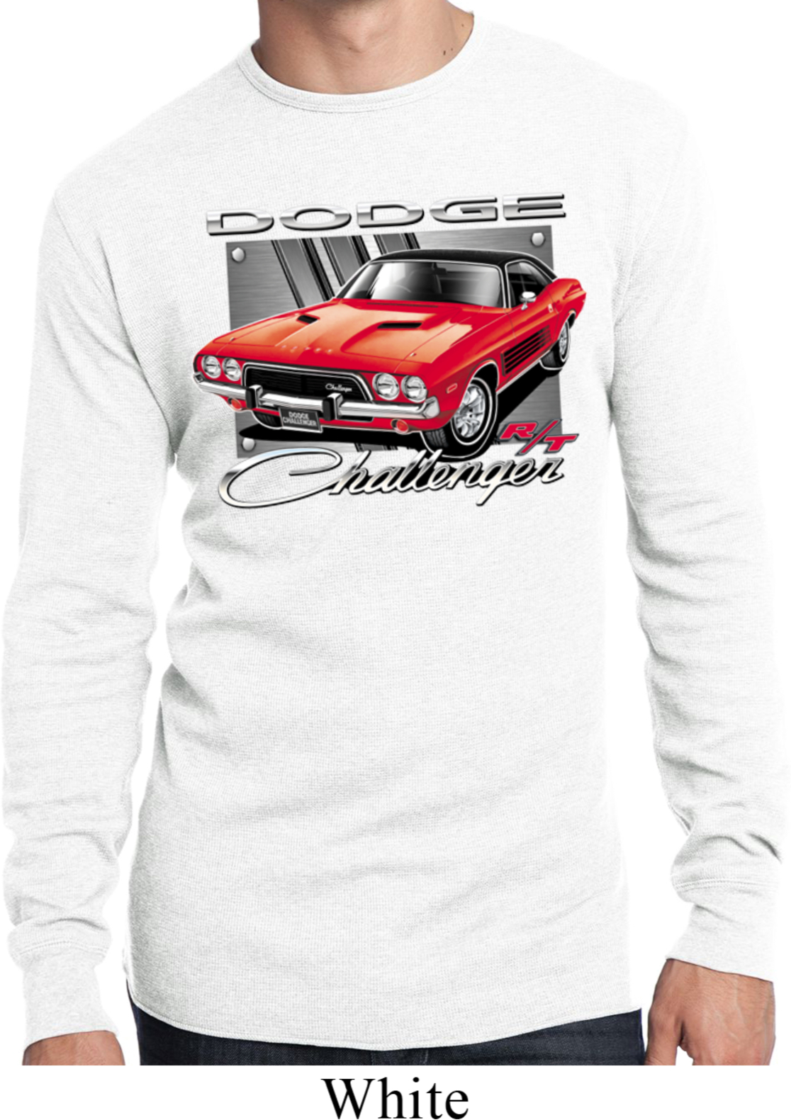 Mens Dodge Shirt Red Challenger White Long Sleeve Thermal