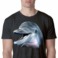 Mens Dolphin Shirt Big Dolphin Face Burnout T-Shirt