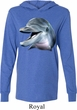 Mens Dolphin Shirt Big Dolphin Face Lightweight Hoodie Tee