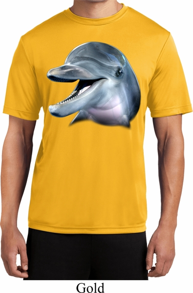 Mens dolphin shirt big dolphin face moisture wicking tee t for Big mens t shirts